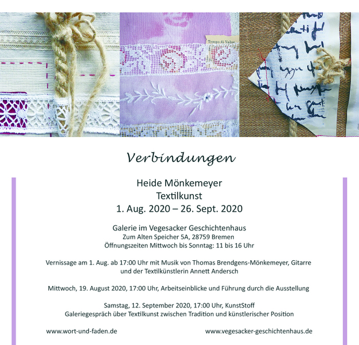 "August-September 2020 Ausstellung ""Verbindung"" Heide Mönkemeyer  in Vegesacker"